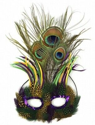 PEACOCK FEATHERED MARDI GRAS MASK COSTUME PARTY PARADE DRAG GAY PRIDE LGBT Q ](Mardi Gras Peacock Costume)