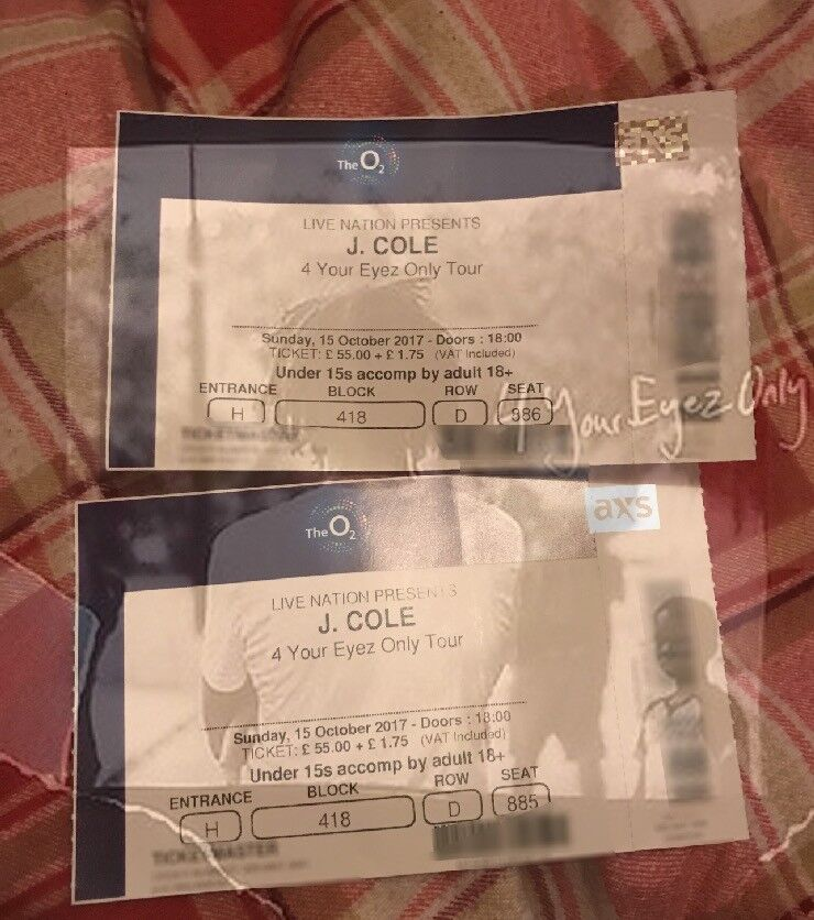 J.Cole J Cole 4 your eyes only tour Sunday 15th Oct 2x Seated tickets