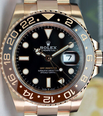 ROLEX - 2018 18kt Rose Gold GMT Master II Black Brown CERAMIC 126715 SANT BLANC