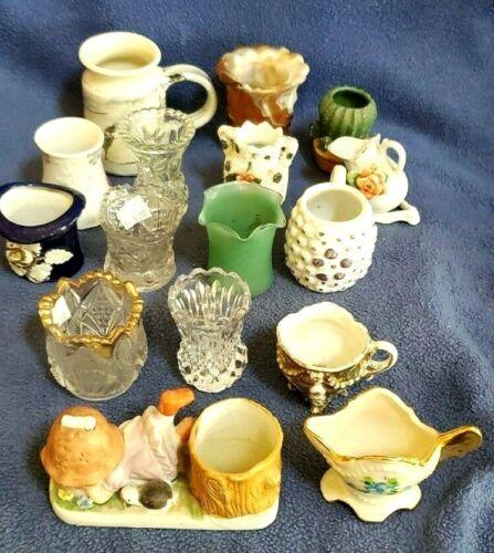 Lot of 16 Vtg slag agate Colorful Glass Toothpick Holders Nice pottery porcelain