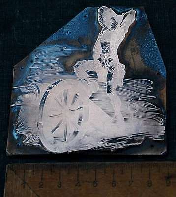 SOLDAT m. KANONE Galvano Druckplatte Klischee Eichenberg printing plate copper