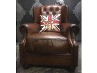 Stunning Chesterfield Tetrad Oskar Wing Back Chair Brown Leather Two Available - UK Delivery