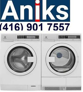 """Electrolux EIFLS20QSW-EIED2CAQSW 24"""" apartment size washer and dryer pair. www.aniksappliances.com"""