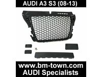 AUDI A3 S3 8P 08-13 inc. SPORTBACK BLACK RS3 HONEYCOMBE MESH FRONT GRILLE