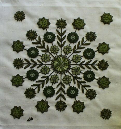 Vtg Green Flowers and Leaves Punch Embroidery Needlepoint Completed Unframed