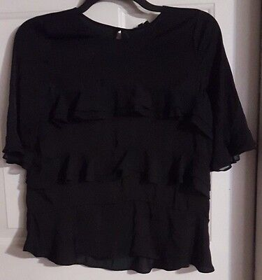 New Womens WhoWhatWear Black Ruffle Short Sleeve Blouse Shirt Top Size Small