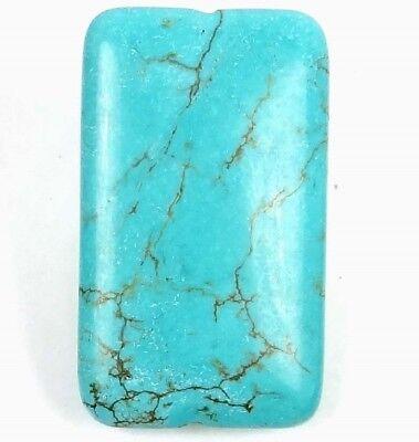 50mm Blue Turquoise w/ Brown Veining Matrix Rectangle Pendant Bead