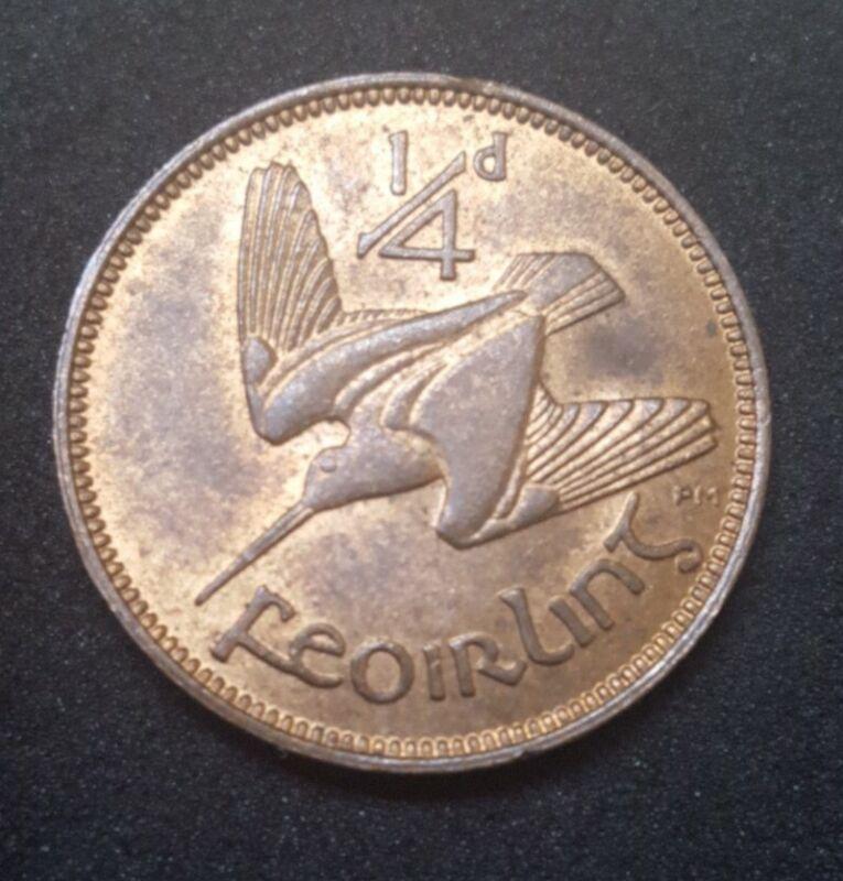 1941 IRELAND UNC IRISH FARTHING KM 9 BROWN RED BU AU LUSTER LUSTROUS