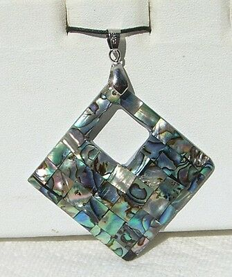 Abalone-Paua Shell Inlay Mosaic Pendant with adjustable cord Free Shipping!