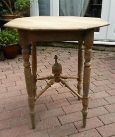 Shabby chic antique table 1850s hexagonal top unique