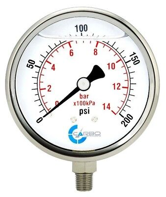 4 Pressure Gauge Stainless Steel Case Liquid Filled Lower Mnt 200 Psi