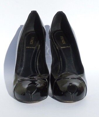 FENDI Black Patent Leather Peep Toe Cut Out Vamp Covered Platform Pumps Heels 40