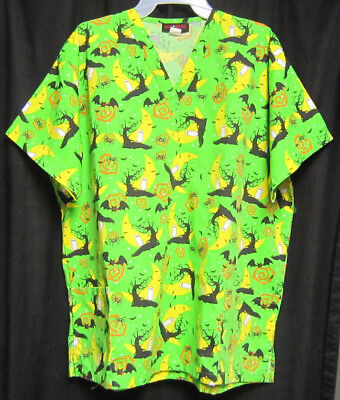 Large Med Wear Green Halloween Scrub Top Spiders Ghosts Bats Moons Spooky Trees