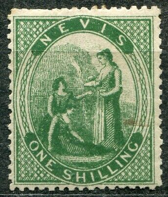 Nevis 1871 issue, SG 21, 1s Deep Green, Mint Hinged, CV £120