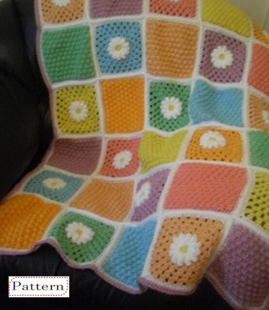 Crochet Pattern Lap Blanket Daisy Clusters Afghan Throw By Peach