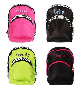 Personalized Kids Girl School Bag Zebra Large Backpack Monogram Name Embroidery