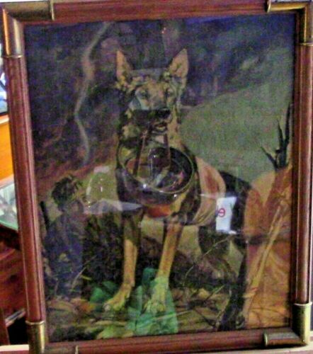Vintage Framed Puzzle: WWI Soldier and his German Sheppard on the Battlefield