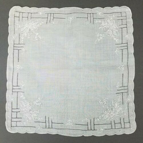 "Exquisite Antique Vintage Hanky Hand Embroidered Wedding Handkerchief 12"" NOS #3"