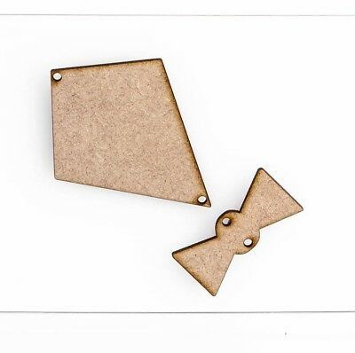 Wooden MDF Kite Craft Shape Embellishment 3mm Thick Design Project With Bows