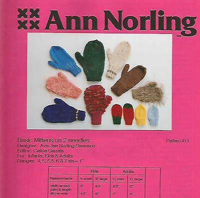 Basic Mittens Infant Child Adults Knitting Instruction Pattern Ann Norling #11 ()