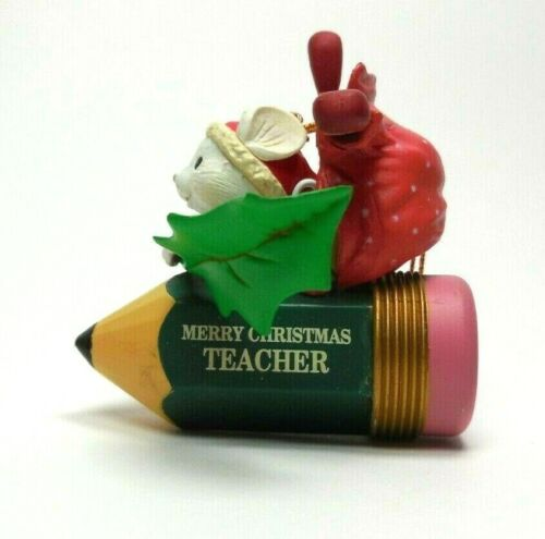 Teacher Christmas Ornament Mouse in Pencil Plane For Vintage 1992 Luster Fame