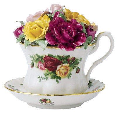 Royal Albert Old Country Roses Musical Teacup Topped w/Sculpted Flowers New