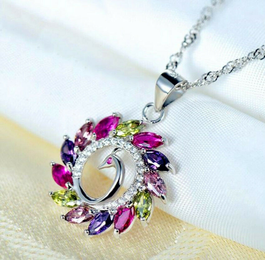 Jewellery - Colorful Peacock Pendant 925 Sterling Silver Chain Necklace Women Jewellery Gift