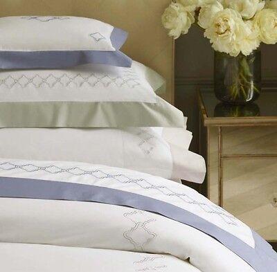 Ash Modern Bed - Sferra QUARTO Boudoir Sham White/Lilac Ash Embroidery Egypt Cotton Percale New