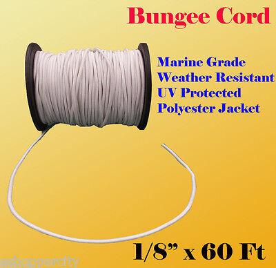 "1/8"" x 60 Ft (20 Yard) Premium Marine Grade Bungee Shock Stretch Cord UV White"