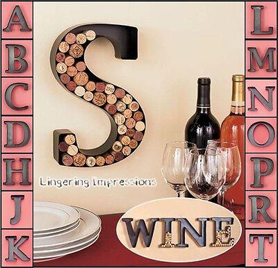 Metal Monogram Wine Cork Holder Initials Wall Art Letter Shaped Decor 12