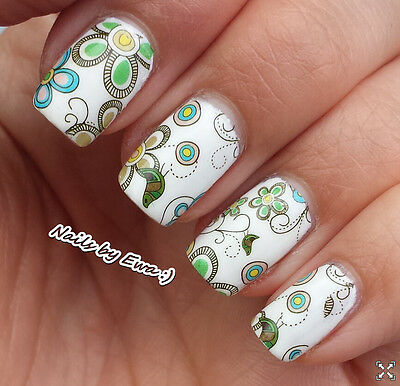 Blue Green Flowers Birds Water Transfer Nail Art Stickers Decals Decoration