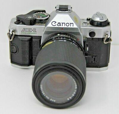 Canon AE-1 Program 35mm SLR Film Camera W Tokina 70-200mm 4.5-5.6 Lens Vintage