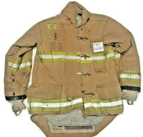 42x33.5 Morning Pride Firefighter Brown Turnout Jacket Coat w/ Yellow Tape J857