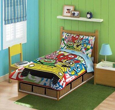 4pc Boys TODDLER BEDDING SET Comforter+Sheets Bed in a Bag Crib Decor Child Room