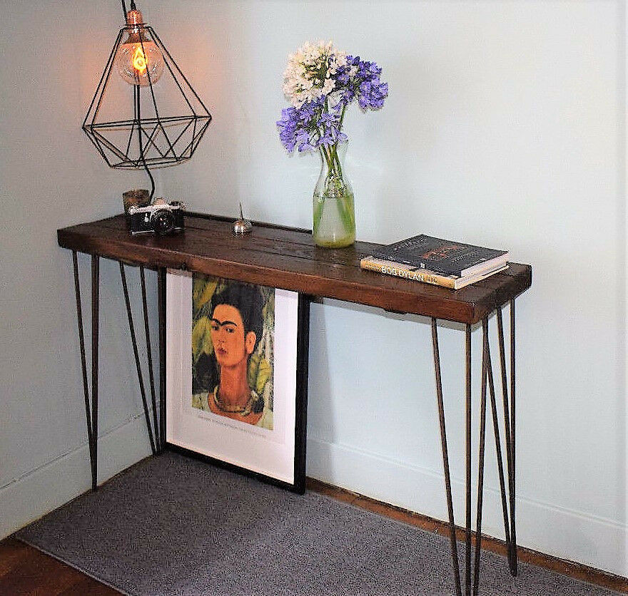 Walnut Stain Hairpin Leg Console Table