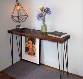 Walnut Stained Industrial Console Table Mid Century Modern Style hairpin Table READY NOW