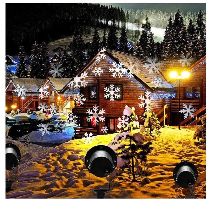 JUST £10 - Christmas Lights Snowfall LED Projector - Outdoor or ...