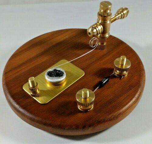 Walnut Base Carborundum Crystal Radio Diode Detector Stand Brass and Bias Diode