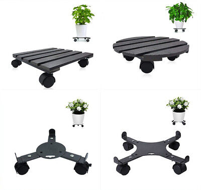 Black Plant Dolly Stand Heavy Duty Caddy Holder Patio Pot Wheels Various Size