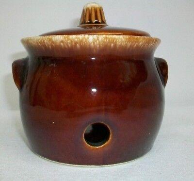 Hull Pottery Garlic Jar Garlic Keeper Brown Drip Excellent Condition