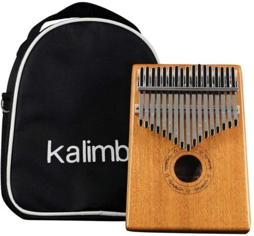 Thumb Piano 17 Keys Acoustic Kalimba Finger Piano with Tuning Hammer,Bag,Pickup
