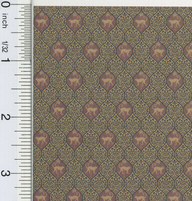 """0000587 3 Sheets 1:24 or 1//2/"""" Scale Dollhouse Miniature Wallpaper Grey /& Tan"""