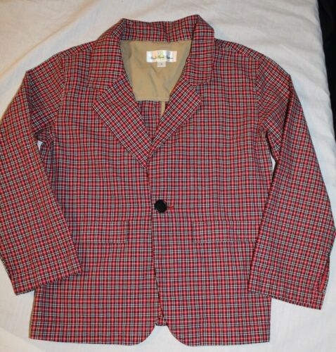 Boys Right Bank Babies red plaid blazer jacket Size 7