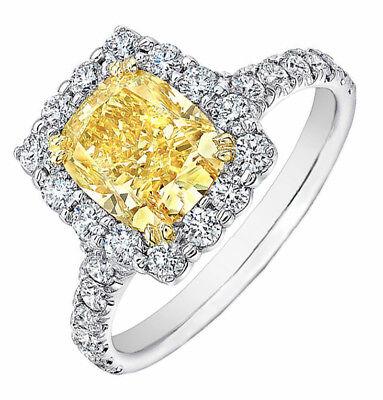 Aureola Design Platino 6.50 Kt Anello di Fidanzamento con Diamanti in Cuscino E