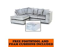 NEW L/H SILVER CRUSHED VELVET CORNER SOFA INCLUDES FREE DELIVERY & FREE MATCHING STOOL FOR £279.99