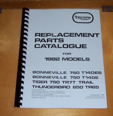 TRIUMPH BONNEVILLE 750 T140ES T140E TIGER 750 TR7T THUNDERBIRD  PARTS CATALOGUE