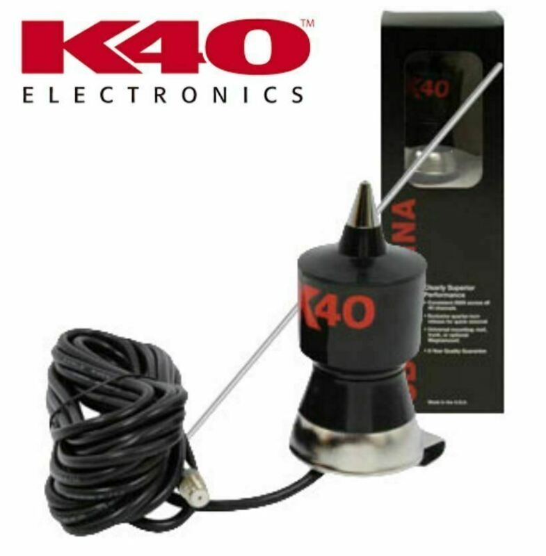 "K40 Antennas K-40 Trunk Lip 57.25"" CB Antenna Kit with Stainless Steel Whip"