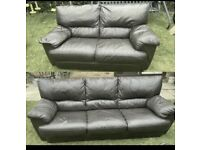 chocolate brown leather 2 / 3 seater set can deliver