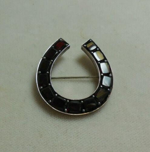 Vintage Bohemian Garnet & Silver Horseshoe Pin / Brooch