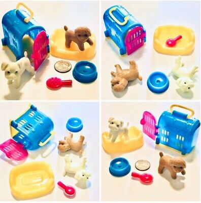 NEW 6pc Lot Set Dog Puppy Pet Animal w/carrier & accessories EUC for Barbie